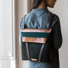 backpack dark green suede woman design