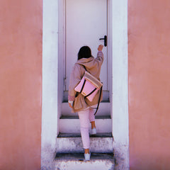 backpack pink and beige women