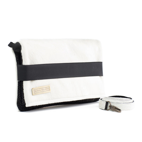 white fur shoulder bag