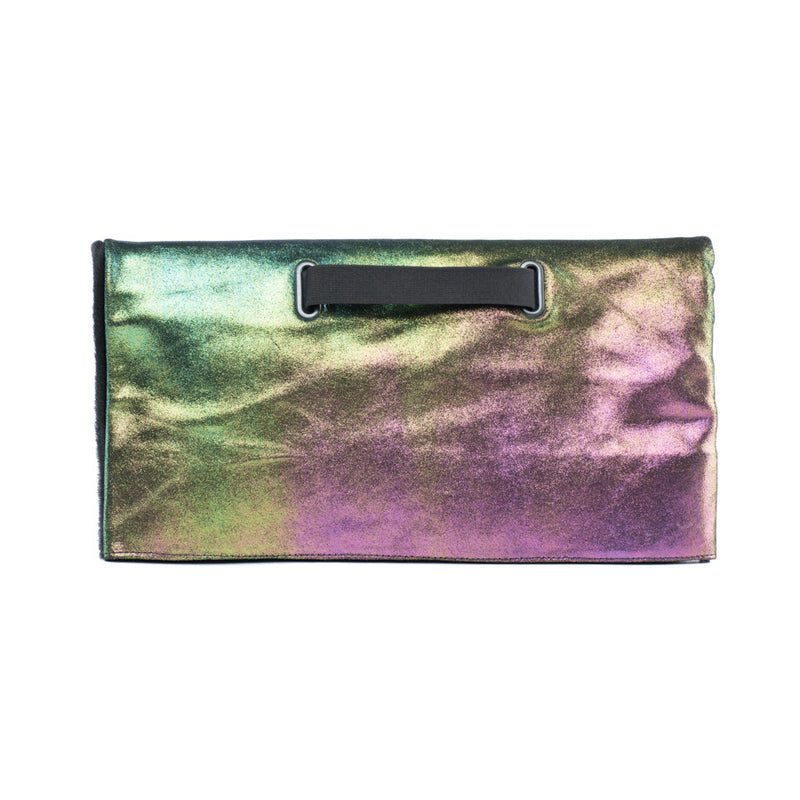 iridescent clutch handbag