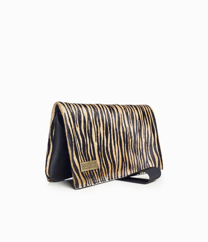 zebra print fur purse bag