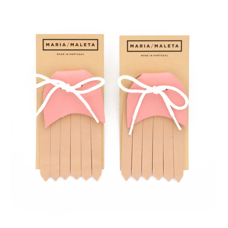fringe shoe sneakers in leather beige and pink