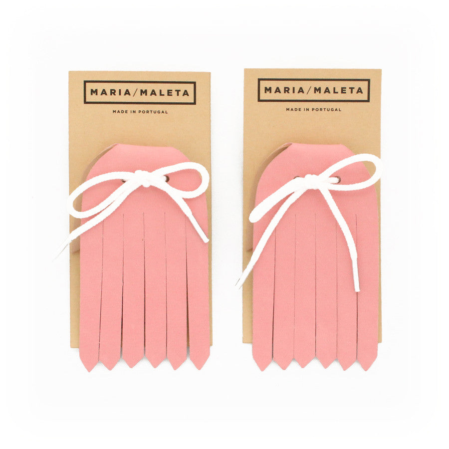 Fringe Shoe Accessory in soft pink leather