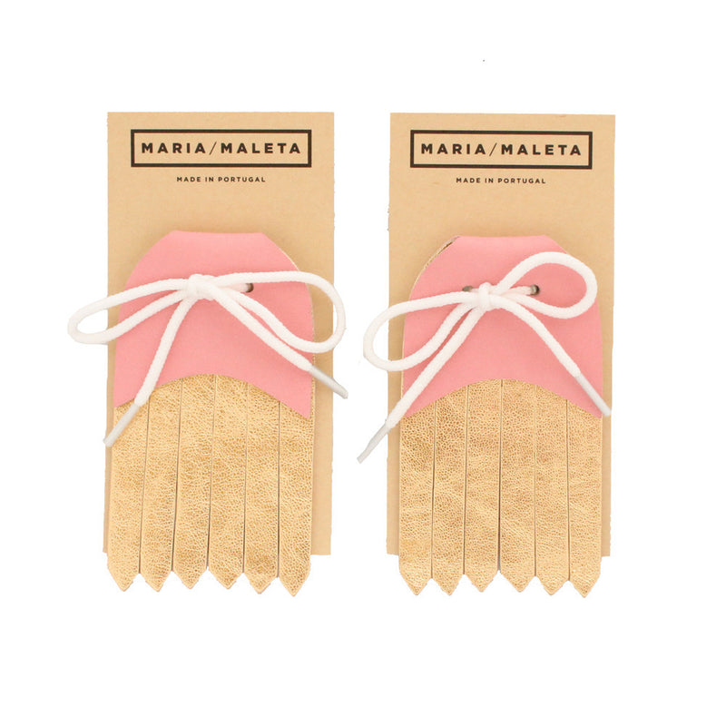 Fringe Shoe Accessory in soft pink and golden leather