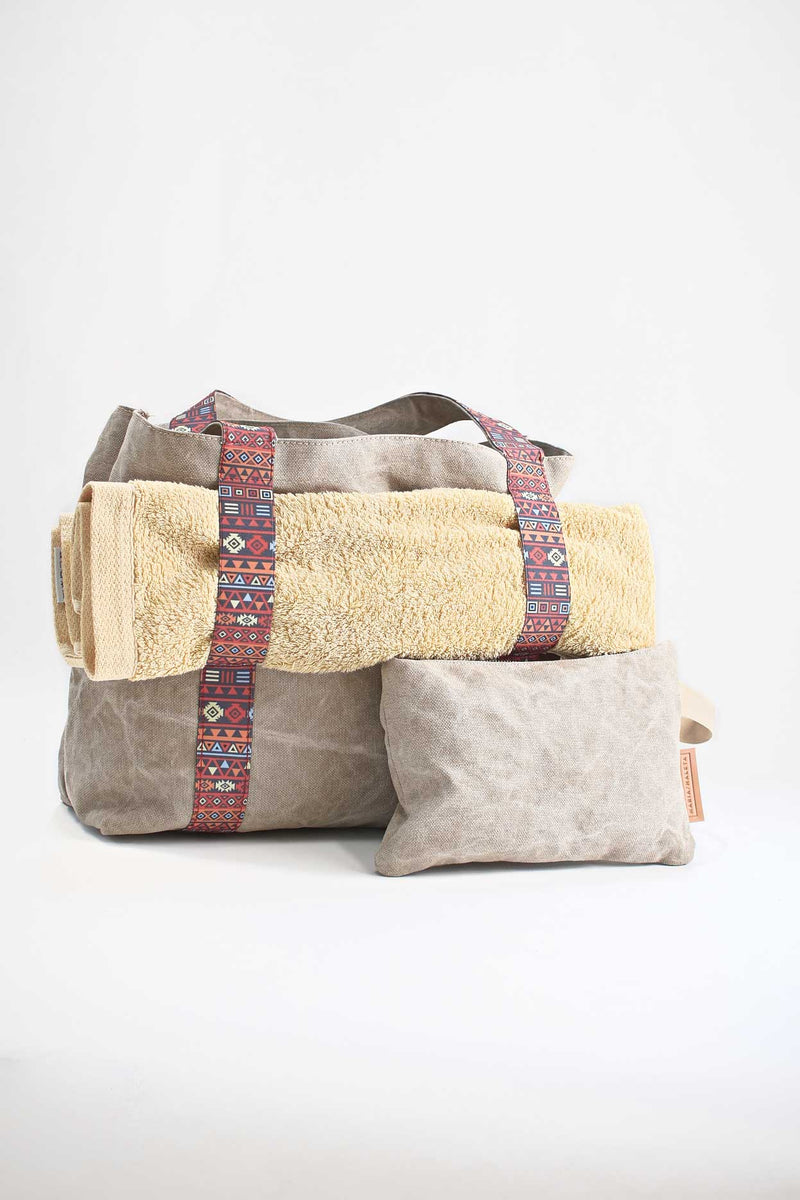 Beach bag beige with elastic