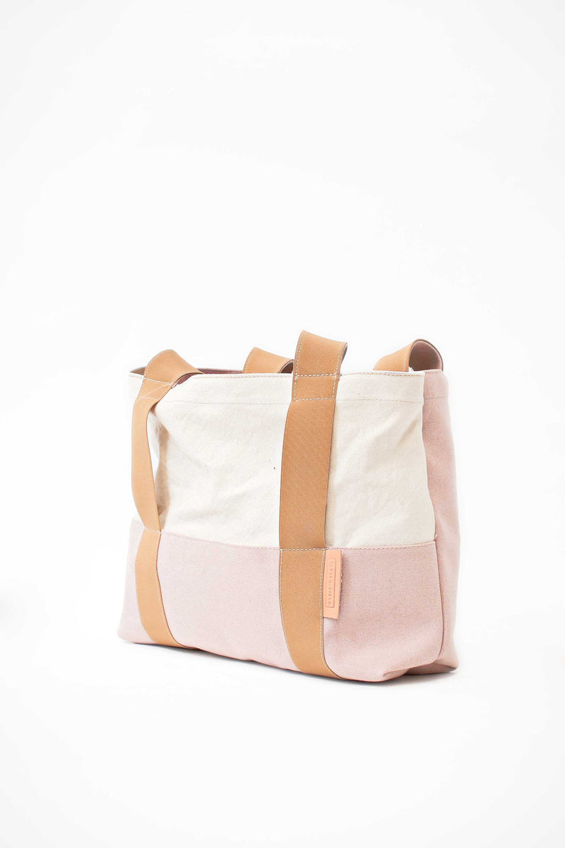 Beach bag cream pink canvas