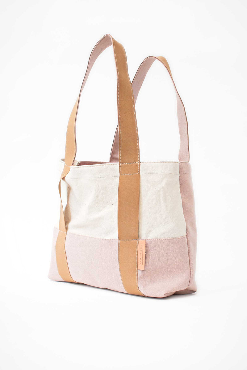 large Beach bag cream pink canvas