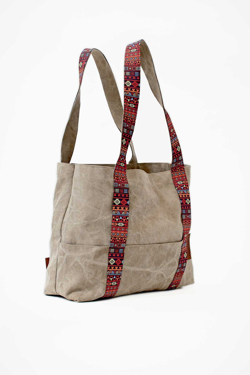 large beach bag in stone beige