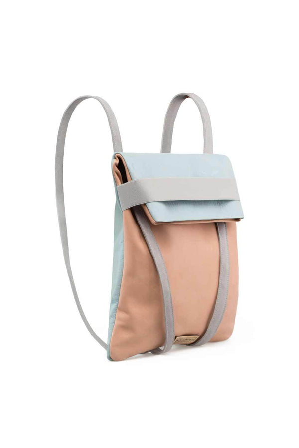 backpack in leather soft pink and blue