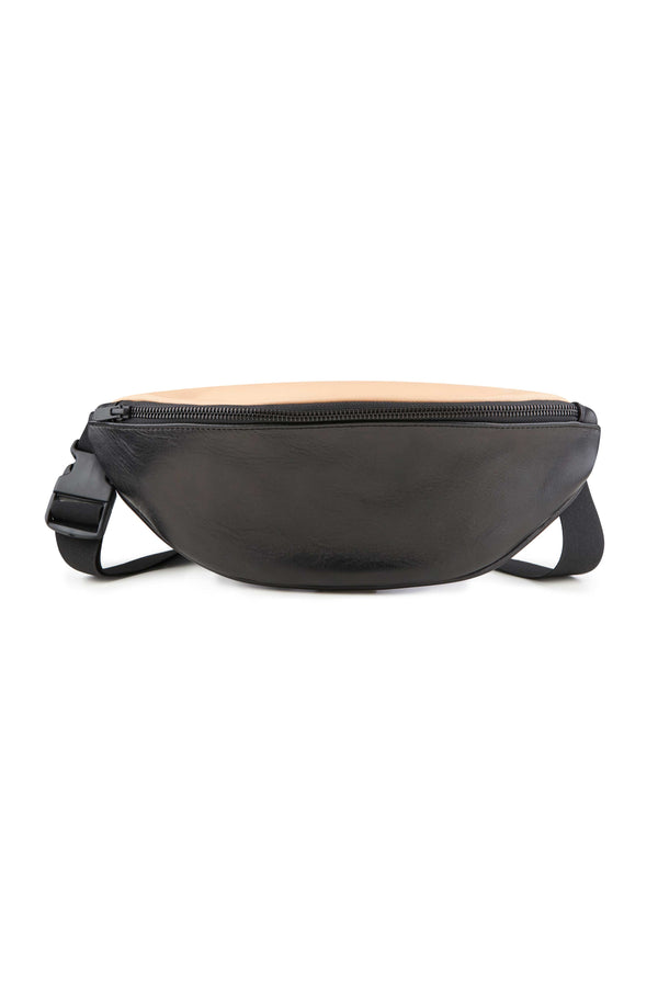 large and clean Belt bag black leather