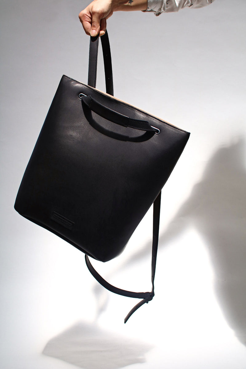 black Backpack in eco leather