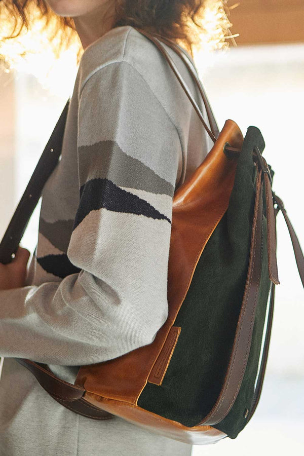 Drawstring Backpack Suede