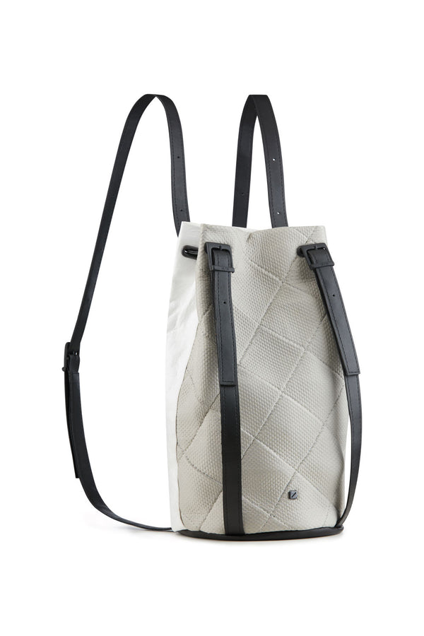 Drawstring backpack grey and white