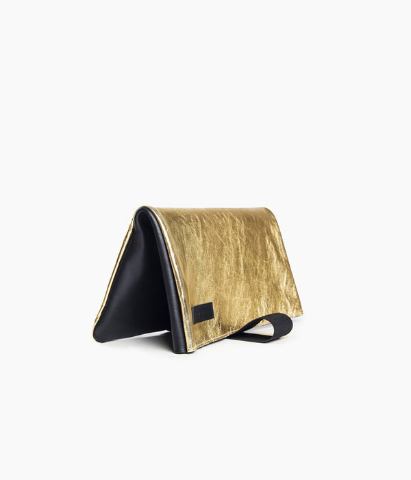 golden clutch bag in leather