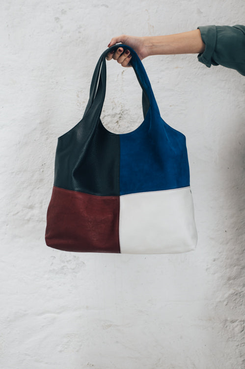 shopper bag black red with blue