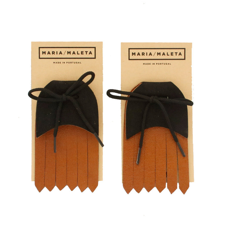 Fringe Shoe Accessory for shoes or sneakers in brown and black leather