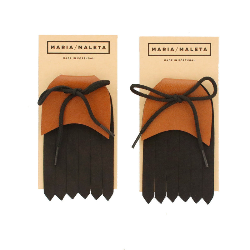 Fringe Shoe Accessory for shoes brown and black leather