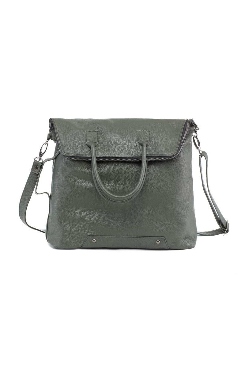 messenger bag in green leather