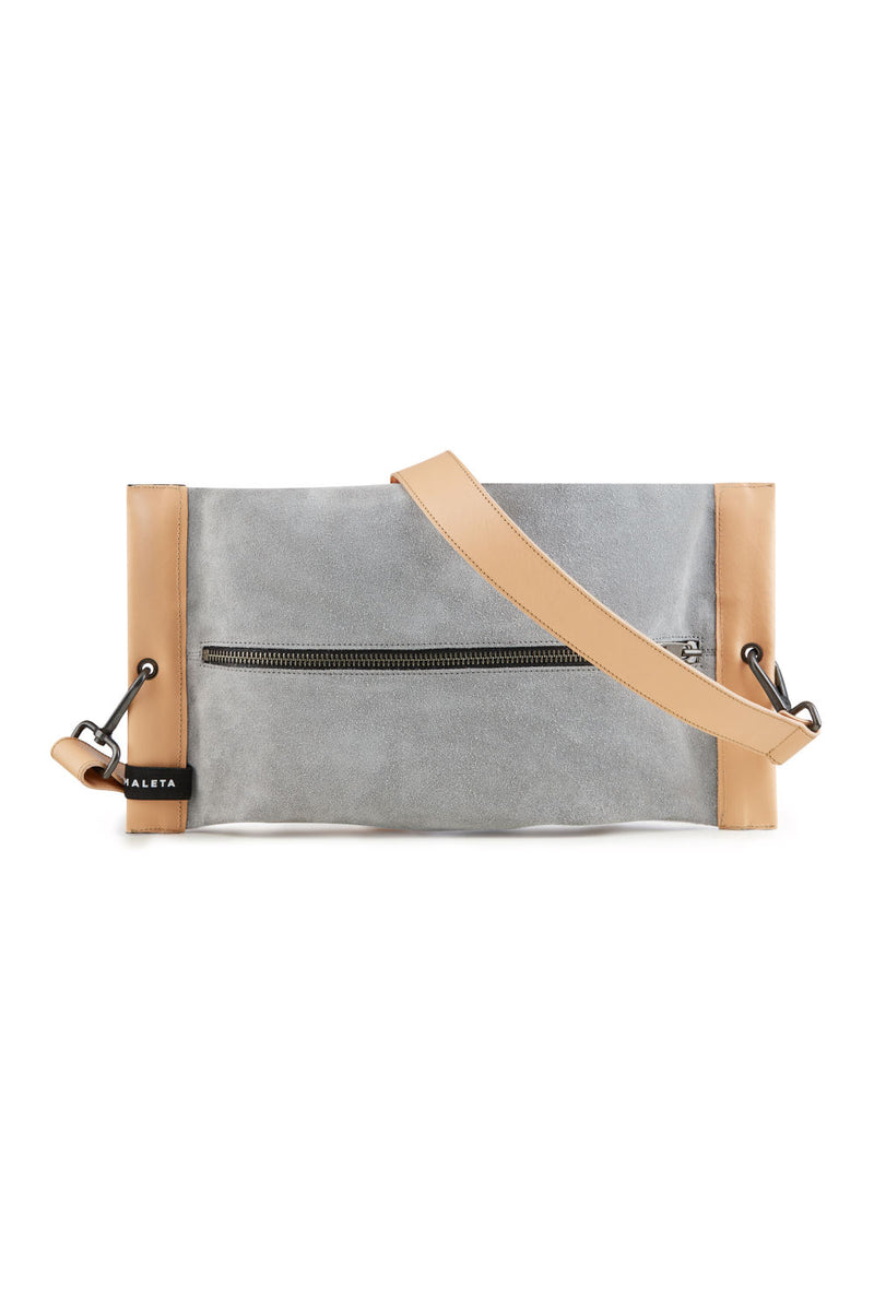 Women crossbody bag grey leather 1