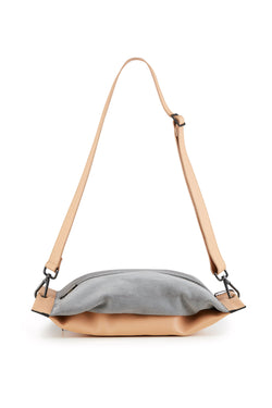Women crossbody bag grey and beige leather