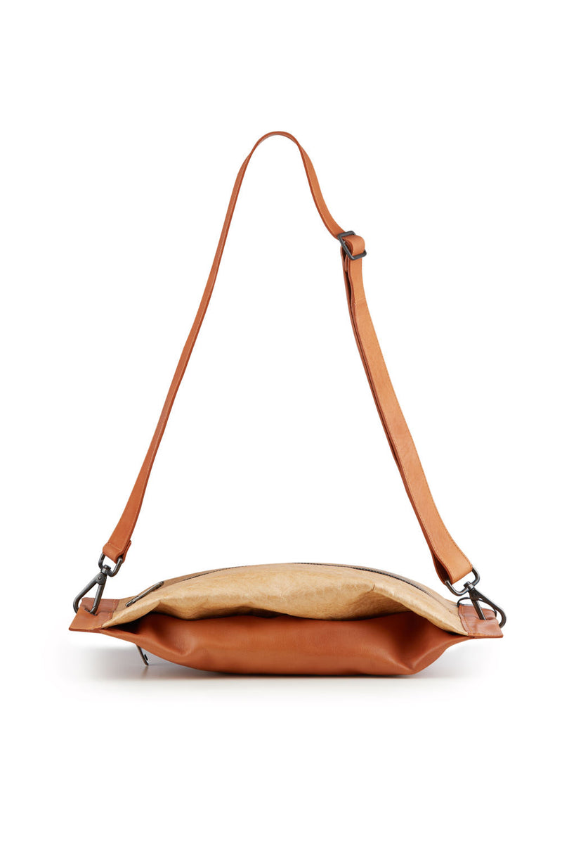Women Shoulder bag brown leather and kraft