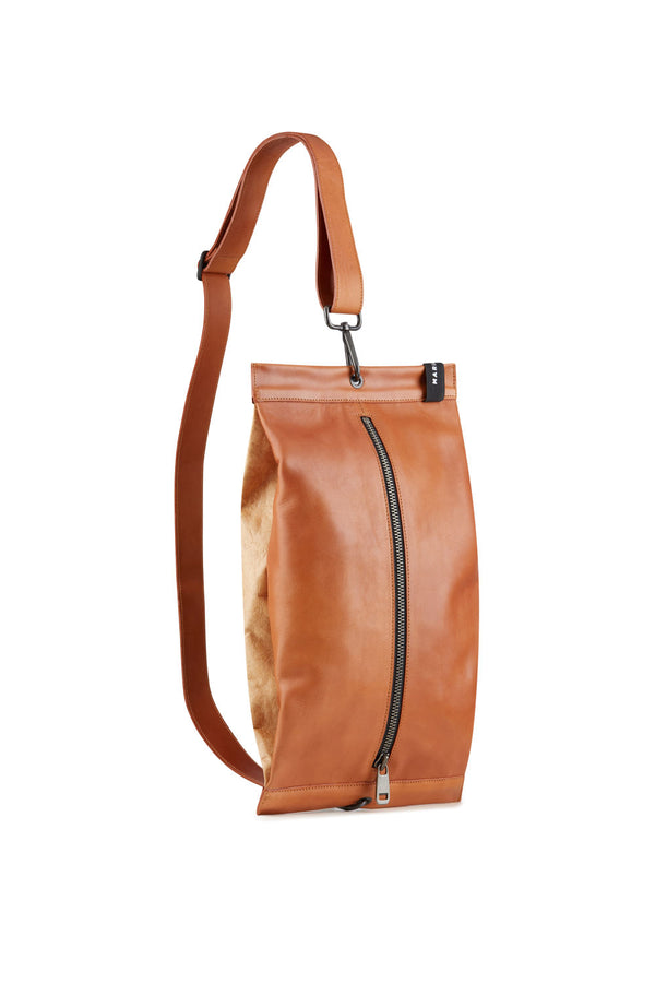 Women Shoulder bag brown leather and kraft  design