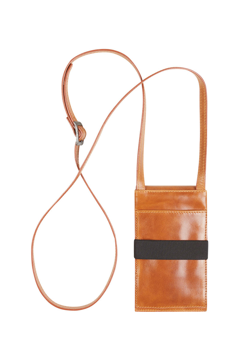 phone pouch brown leather with strap