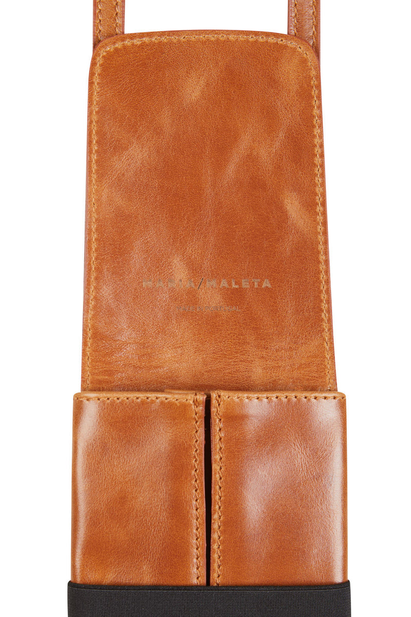 phone pouch in brown leather