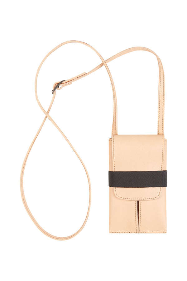 Phone bag beige leather