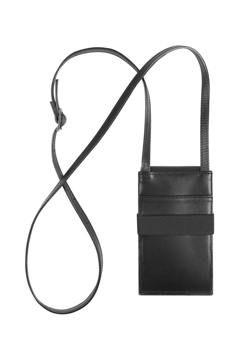 phone bag in black leather with strap