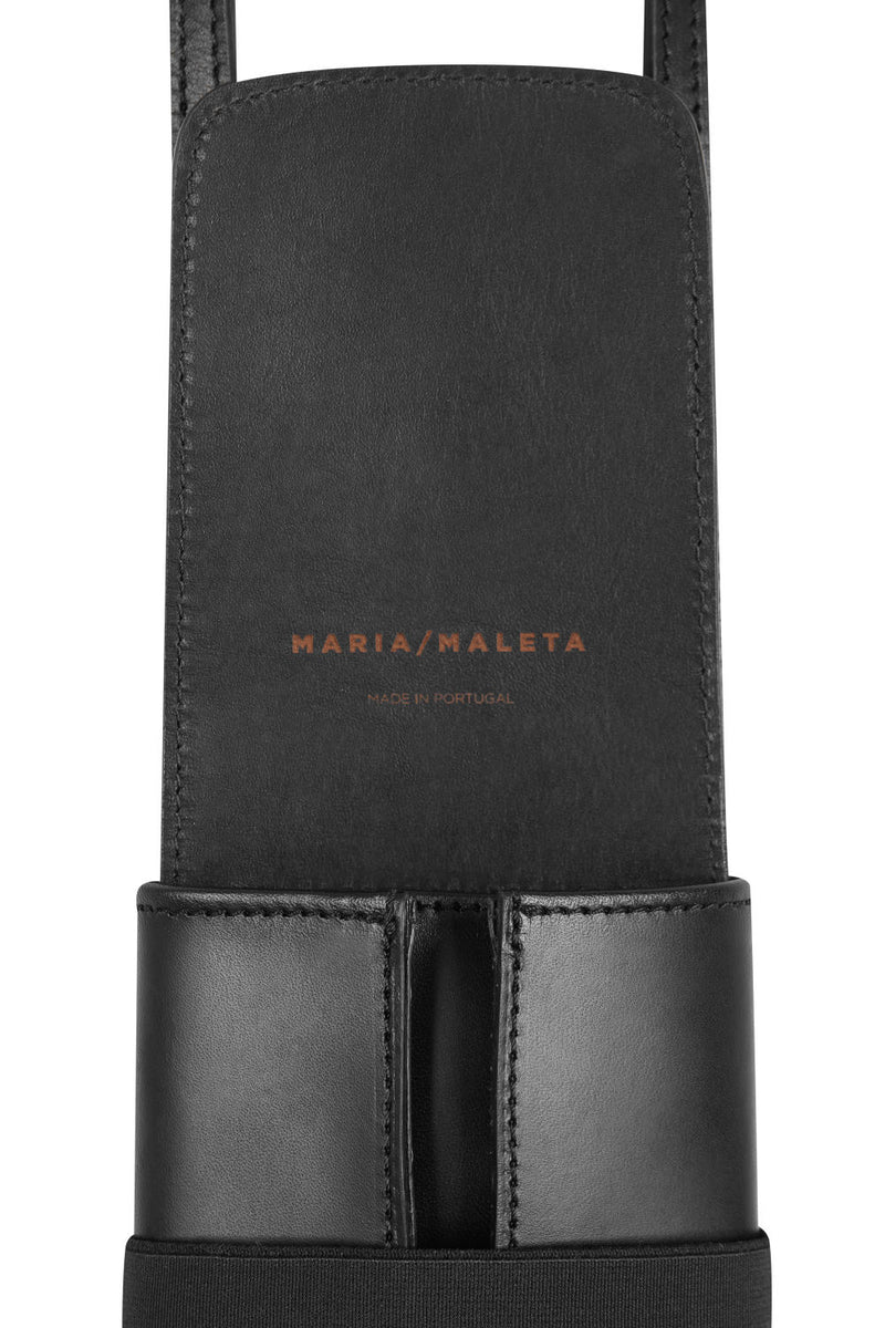 phone bag in black leather