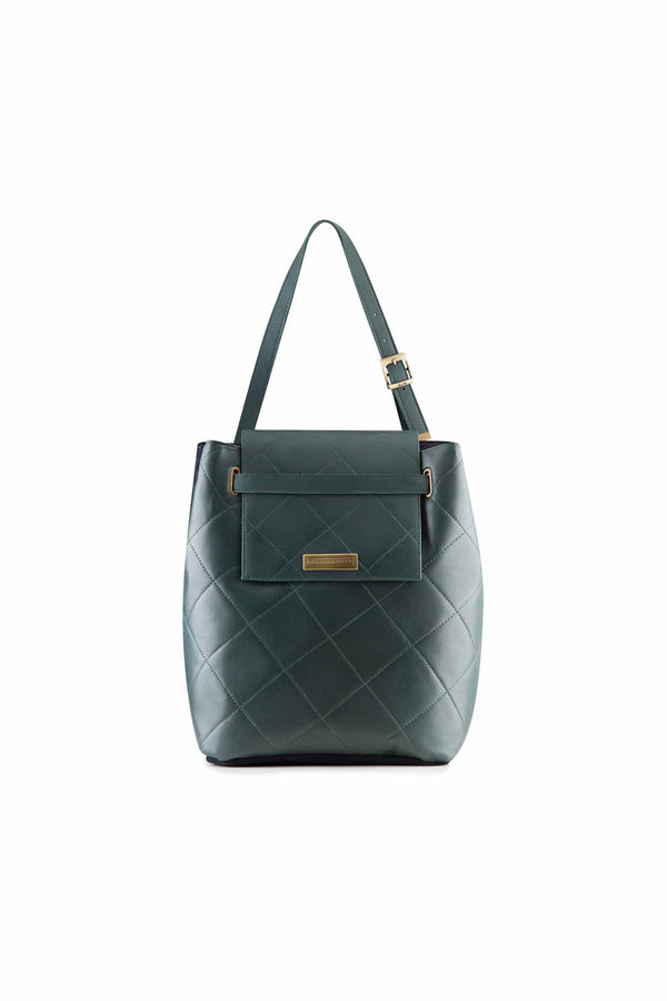quilted shoulder bag large women green leather