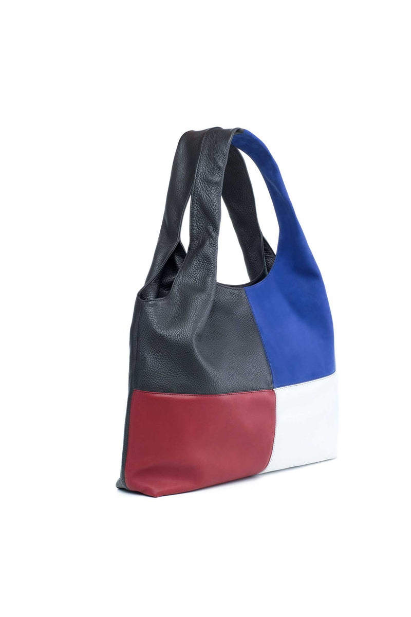 red blue black and white shoulder bag in leather