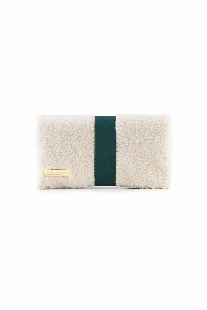 Shearling white clutch bag