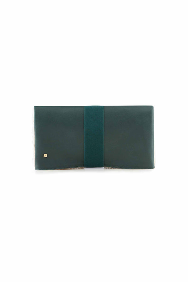 DARK Green leather clutch HANDBAG