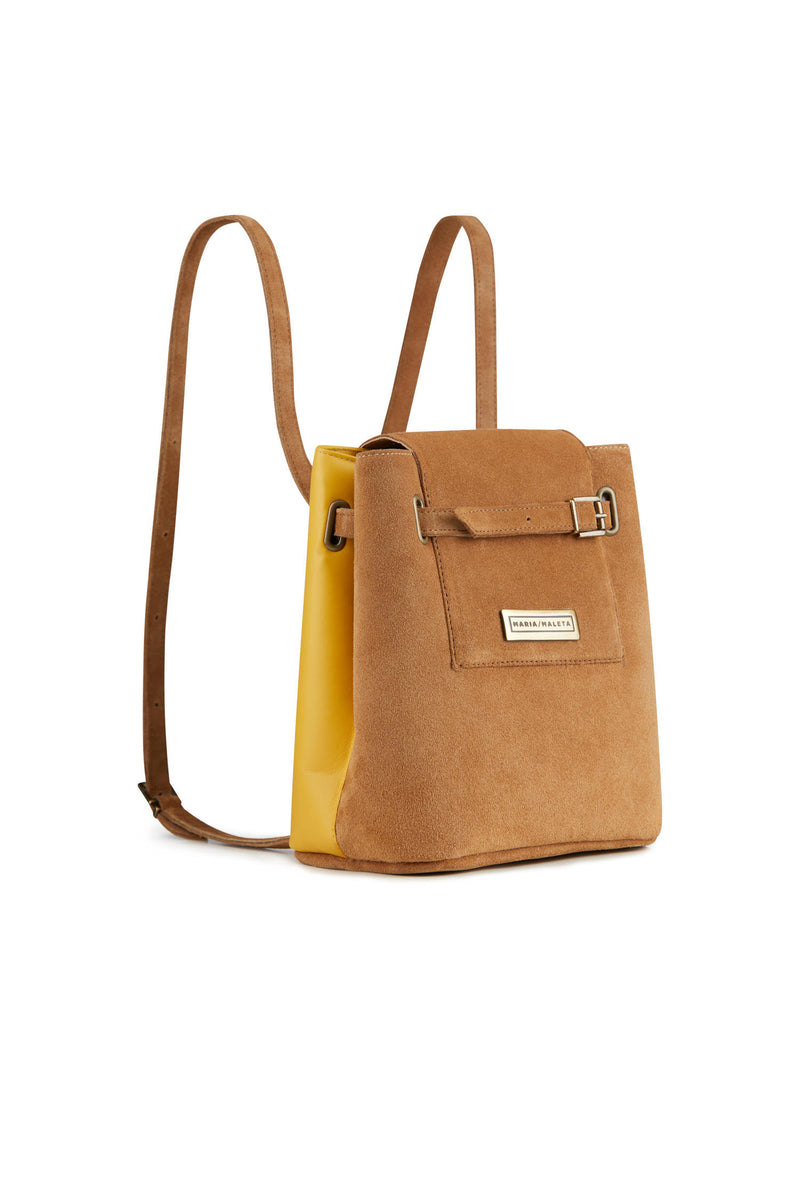 Small backpack brown suede