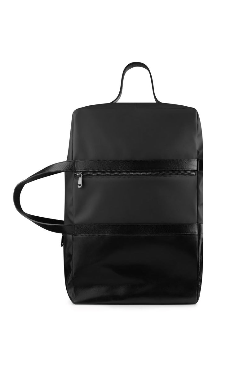 Large weekend bag in black leather
