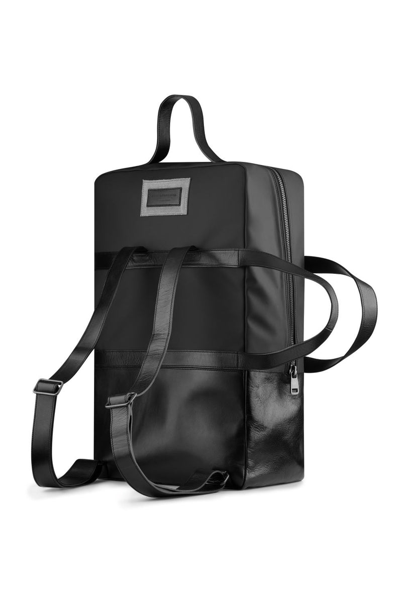 Large weekend backpack in black leather