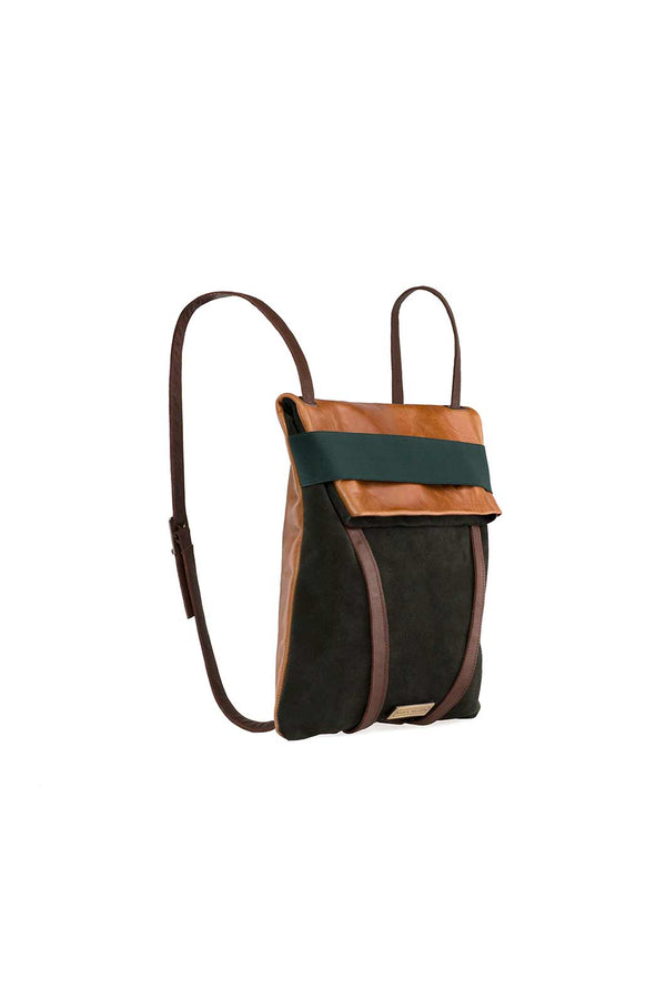 13 inch laptop backpack in brown and green suede