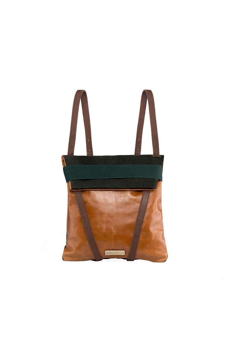 backpack in green suede and brown leather