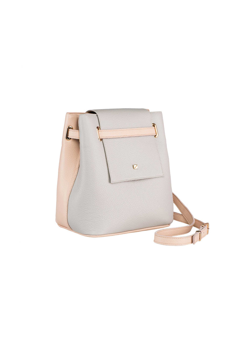 bag with two sides ligth grey and pink leather