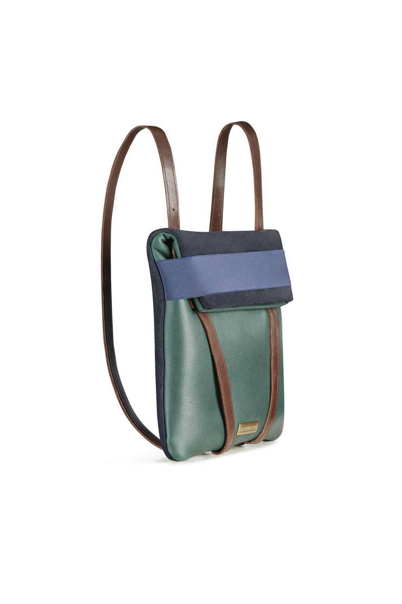 women-backpack-green-and-navy-blue