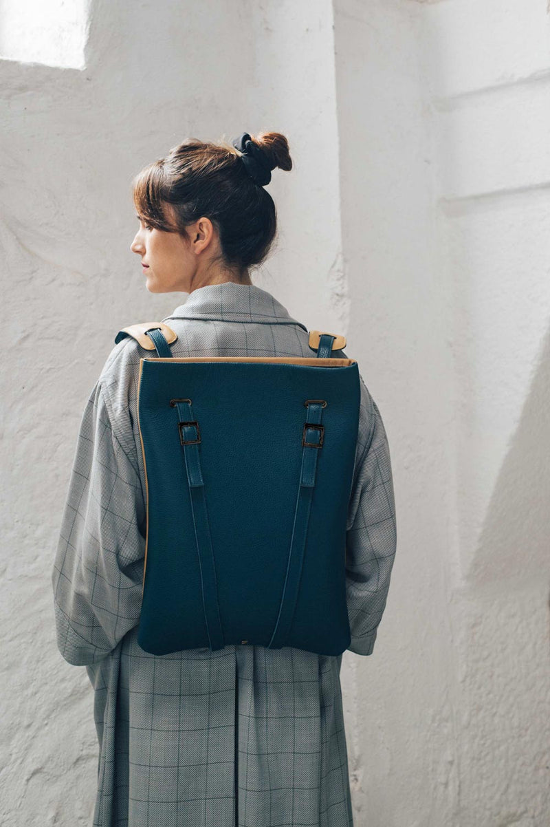 woman laptop backpack navy blue