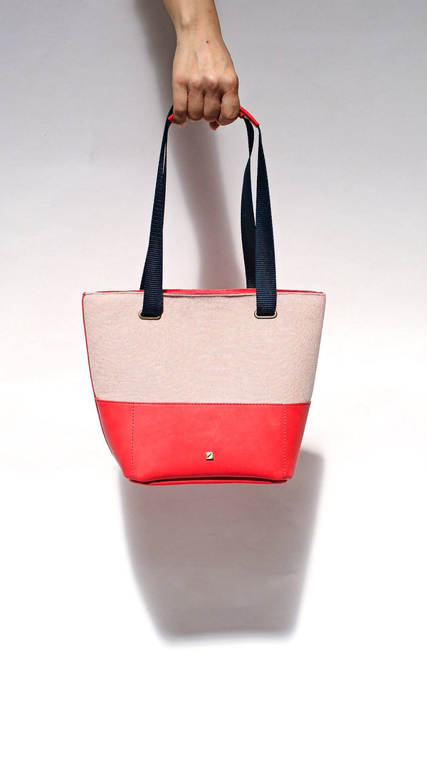 pink and red handbag