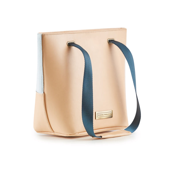 shoulder bag nude and light blue