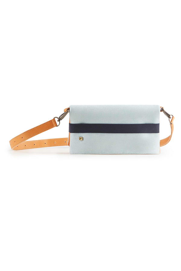 belt bag blue and camel leather