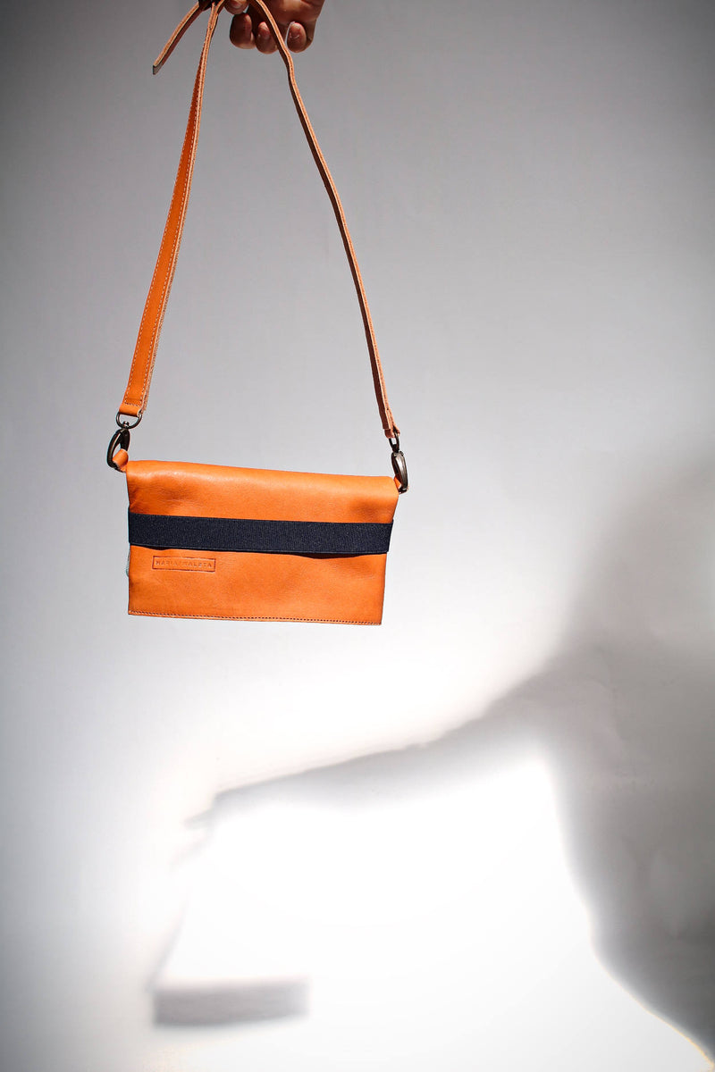 belly bag in orange leather