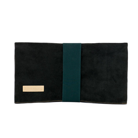 clutch bag in green suede with green elastic