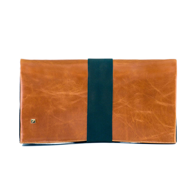 clutch bag in camel brown leather