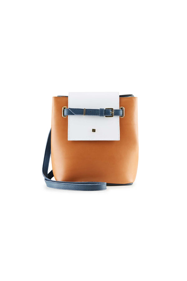 crossbody bag women brown leather and white